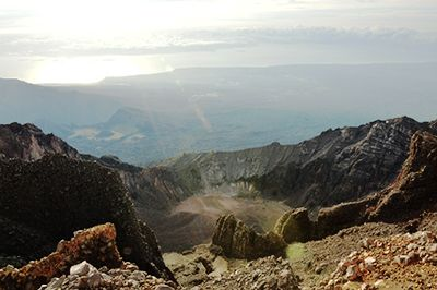 view from the summit of Mount Rinjani