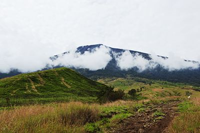Mount Rinjani in clouds