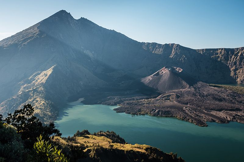 view on the mount Rinjani crater lake