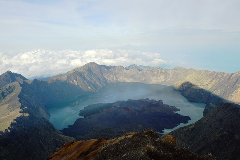 View from the top of mount Rinjani