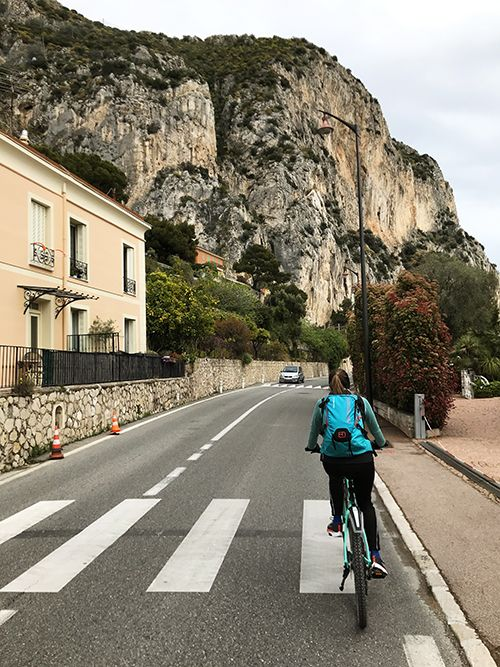 Cycling from Nice to Monaco on a cliff road