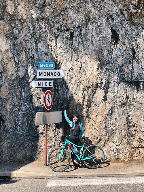 Cycling from Nice to Monaco road