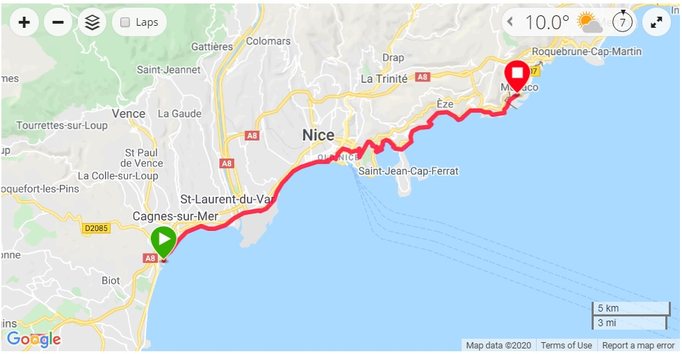 Cycling from Nice to Monaco route