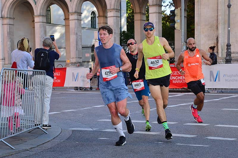 First kilometers of running a marathon