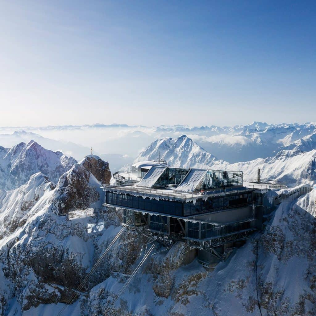 Skiing at the top of Germany Zugspitze